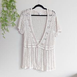 (Christopher & Banks) Cream Crochet Sweater XL